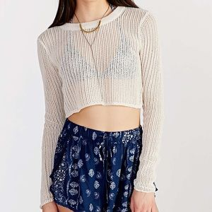 Mesh Knit Long Sleeve Crop Top